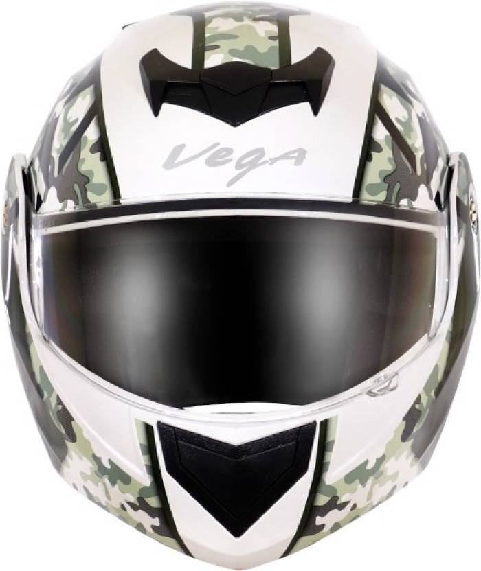 8b161ed2 VEGA CRUX DX CAMOUFLAGE WHITE BATTLE GREEN HELMET Motorbike Helmet (WHITE  BATTLE GREEN)