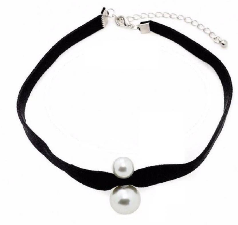 4685367ca5d87 UC Jewelry Dual Pearl Artificial Leather Necklace Pearl Fabric ...