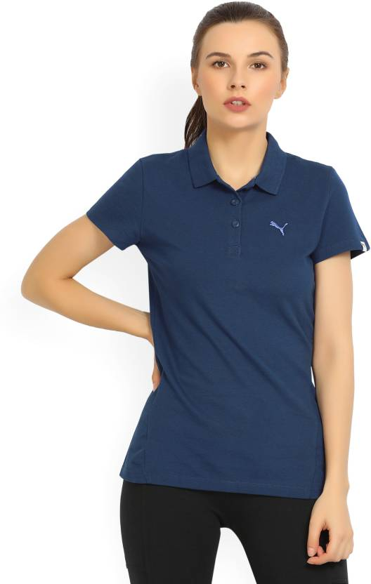 28d4dc81 Puma Solid Women's Polo Neck Blue T-Shirt - Buy Blue Puma Solid Women's Polo  Neck Blue T-Shirt Online at Best Prices in India | Flipkart.com