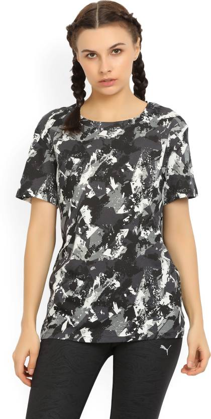 d012eed0e0cc Puma Graphic Print Women s Round Neck Multicolor T-Shirt - Buy Black Puma  Graphic Print Women s Round Neck Multicolor T-Shirt Online at Best Prices  in India ...