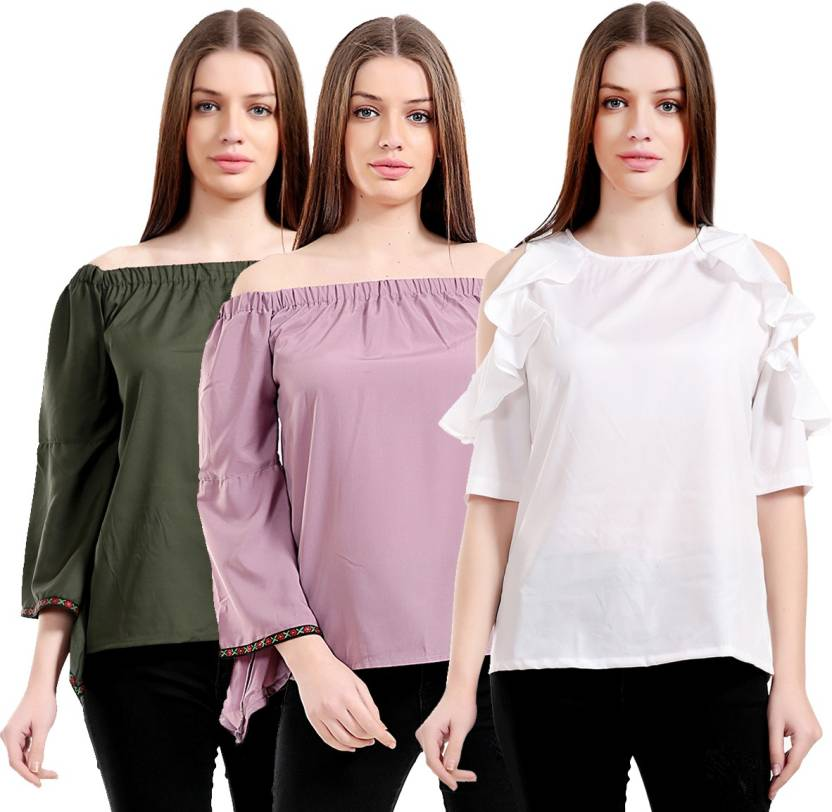 22ed635d7 Rakshita Collection Casual 3 4th Sleeve Solid Women s White Top ...