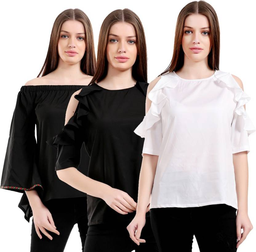 d5f09cca3 Rakshita Collection Casual 3 4th Sleeve Solid Women s White Top - Buy  Rakshita Collection Casual 3 4th Sleeve Solid Women s White Top Online at  Best Prices ...