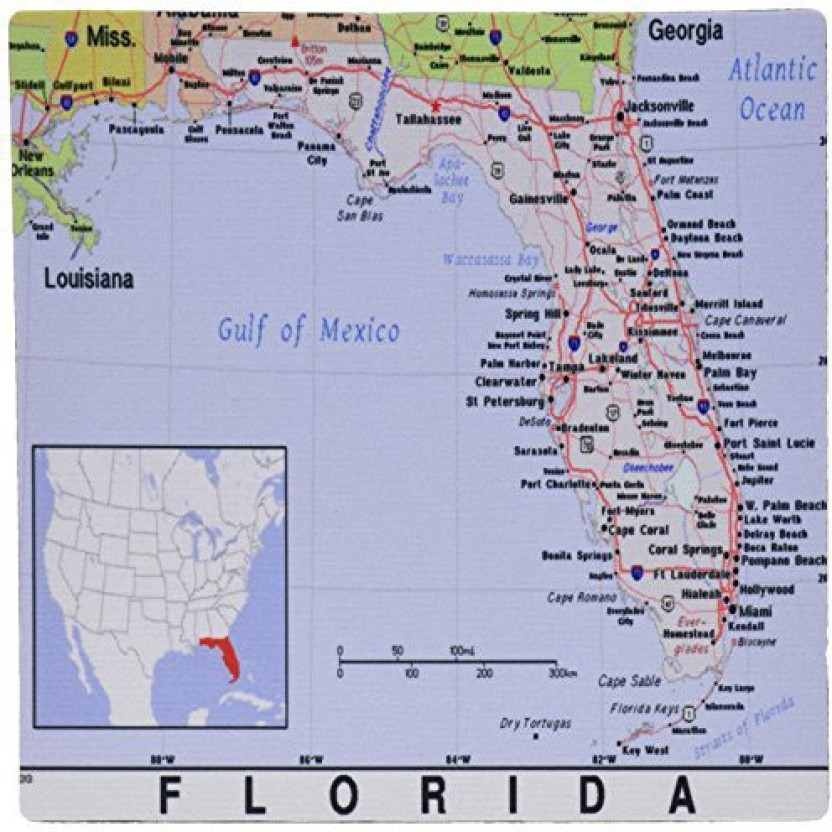 graphic about Printable Map of Florida Cities named 3dRose Print of Florida Metropolitan areas and Region Map - Mouse Pad