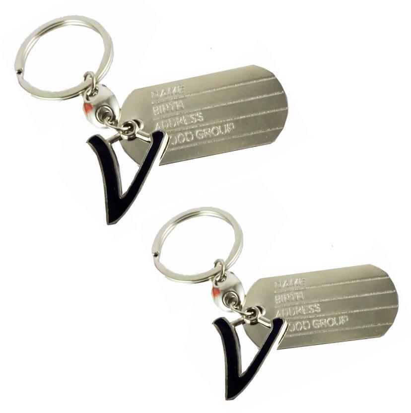 estore V letter alphabet dog tag high quality metal keyring key chain for  man and women set of 2 pcs Key Chain (Silver) baca160ad0