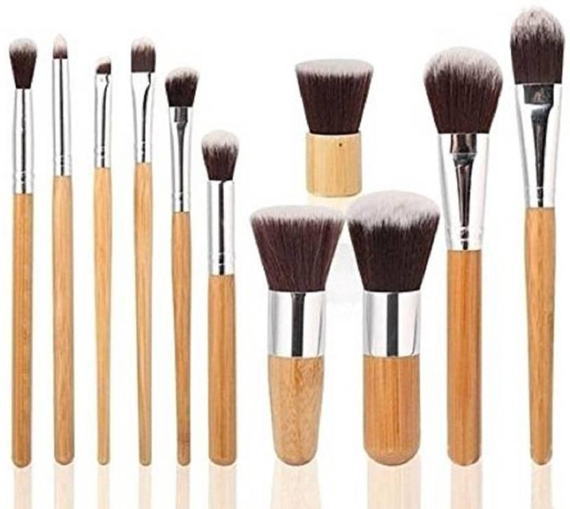 86e48aba00af Foolzy 11Pcs Makeup Brush Set Professional Kabuki Foundation Blending Blush  Concealer Eye Face Liquid Powder Cream Cosmetics Brushes Kit