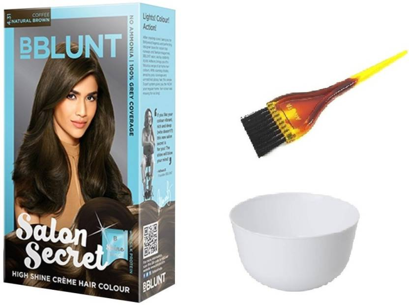ca632aba674 BBlunt Salon Secret High Shine Crème Hair Colour (4.31 Coffee Natural Brown)  with 1 Mixing Bowl   1 Dyeing Brush (Set of 3)
