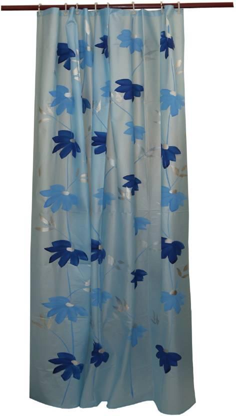 Kuber Industries 213 Cm 7 Ft PVC Shower Curtain Single Floral Blue