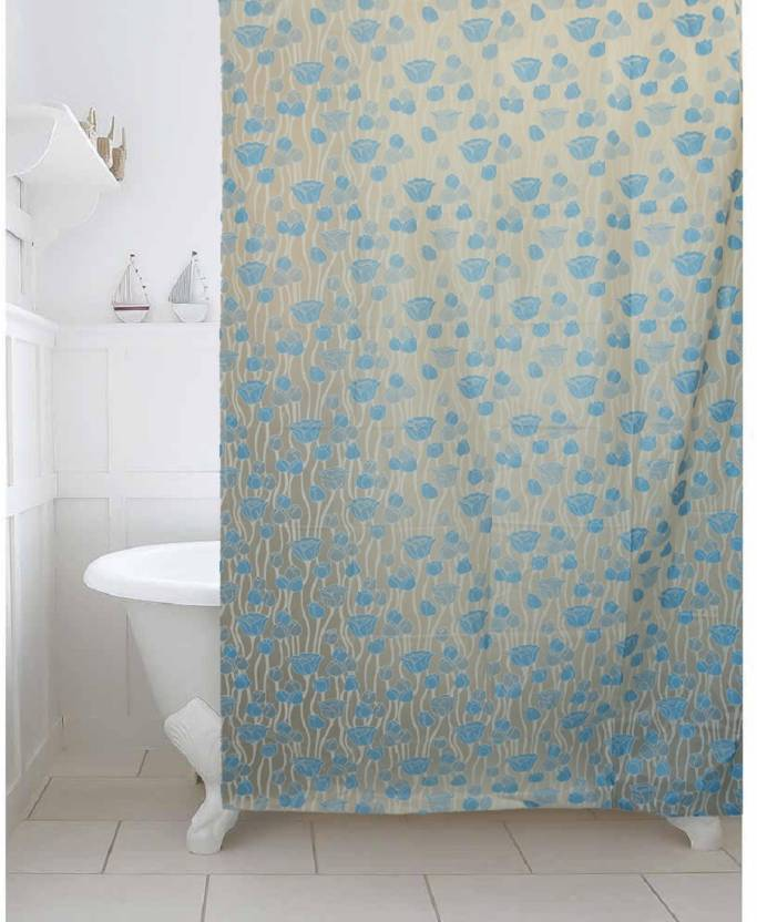 Kuber Industries 213 Cm 7 Ft PVC Shower Curtain Single Plain Blue