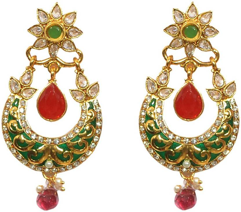 25eed9ae9 Pourni Pourni exclusive Designer Pearl & Color stone Earring - PRER21 Cubic  Zirconia Alloy Drops &