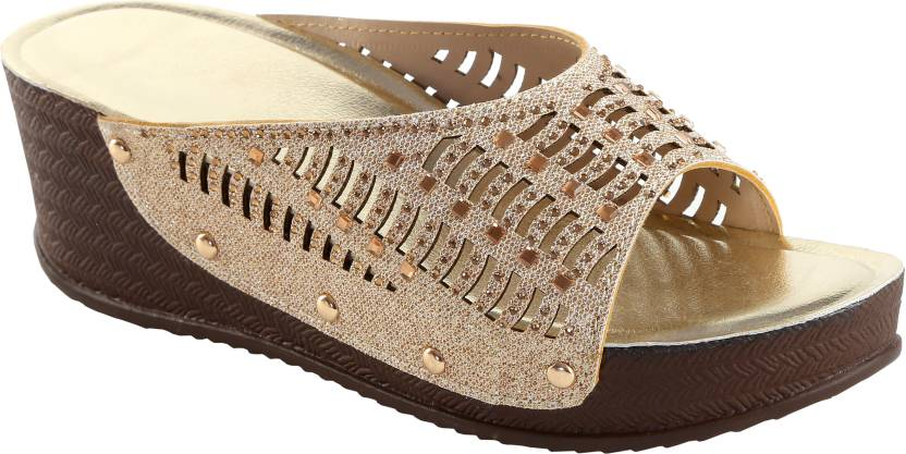 c83ab6b25b99 Zappy Women Gold Wedges - Buy Zappy Women Gold Wedges Online at Best Price  - Shop Online for Footwears in India