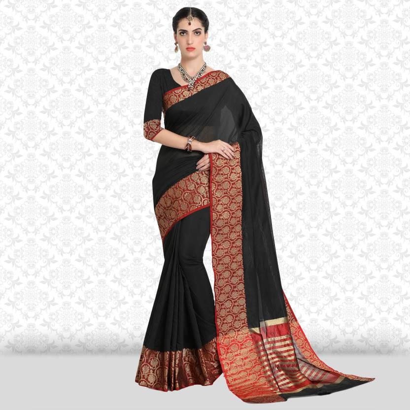 df54310524a4bf Buy Divastri Solid Fashion Cotton, Cotton Silk, Silk Black, Gold ...