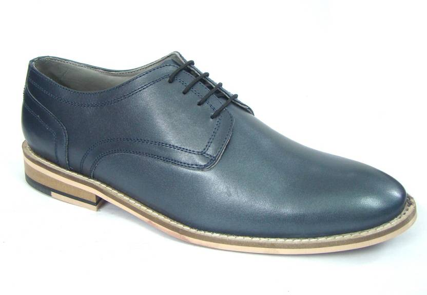 ASM Blue Leather Derby Shoes Derby For Men - Buy ASM Blue Leather ...