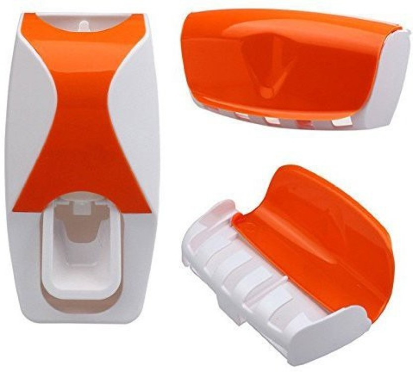 Automatic Toothpaste Dispenser Squeezer 5 Toothbrush Holder Set Wall