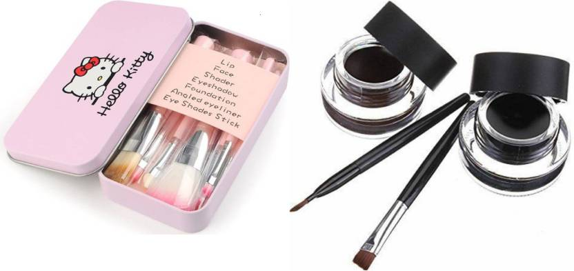 726600909 TheTopNotch Eye Liner Black Brown and Hello Kitty Make Up Brush Set (Set of  2)