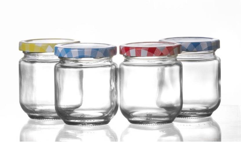 Godskitchen Set Of 4 Mason Jars With Colourful Lids Regular