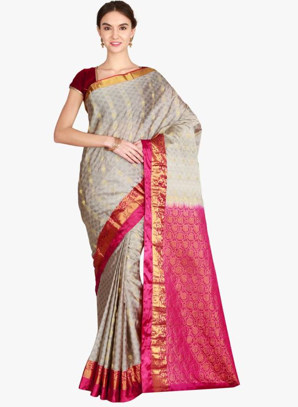 b28b3e207 Buy The Chennai Silks Self Design Kanjivaram Pure Silk Multicolor ...