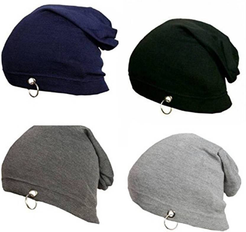 33528cfcac1e ALAMOS Stylish Look Beanies Set Black,Blue,Grey And Dark Grey With Ring  Beanie Cap (Pack of 4)
