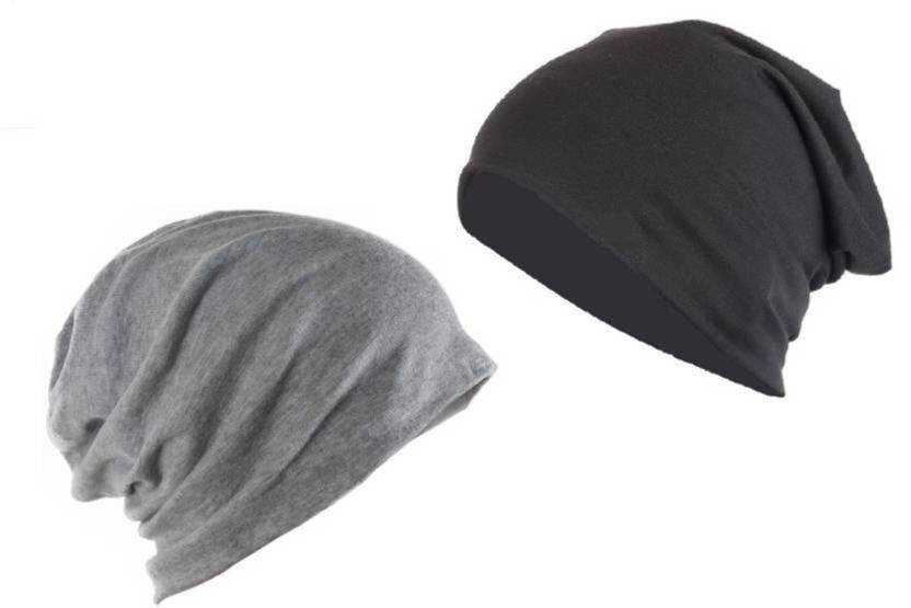 ee6ebe2f2b3 Raydon Black And Grey Cotton Beanie Cap - Buy Raydon Black And Grey Cotton  Beanie Cap Online at Best Prices in India