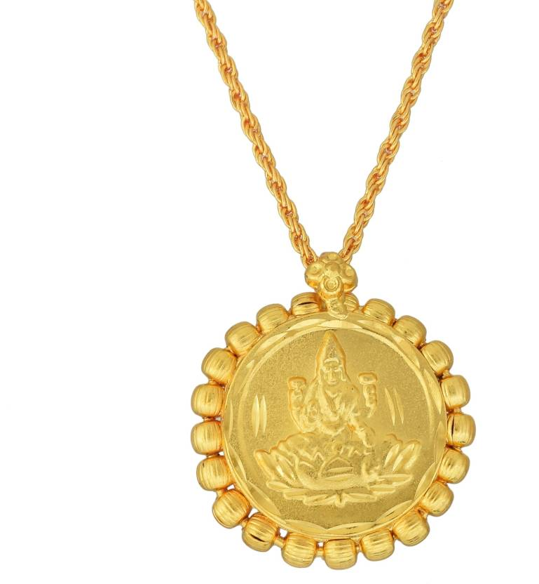 DzineTrendz Gold Plated, Coin Shaped Laxmi pendant Hindu God