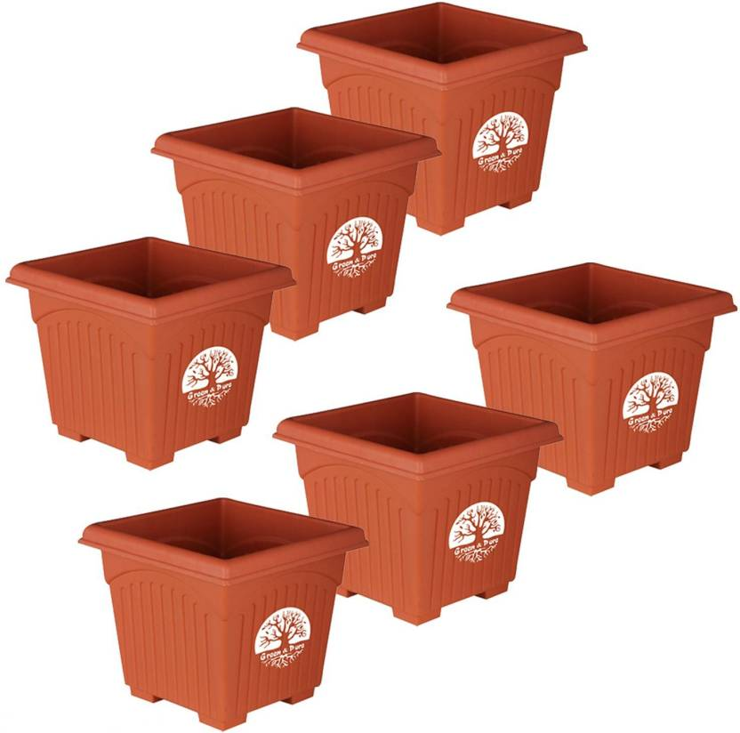 Green And Pure Premium Quality 8 Inch Square Planter Pots Flower Plant Containers