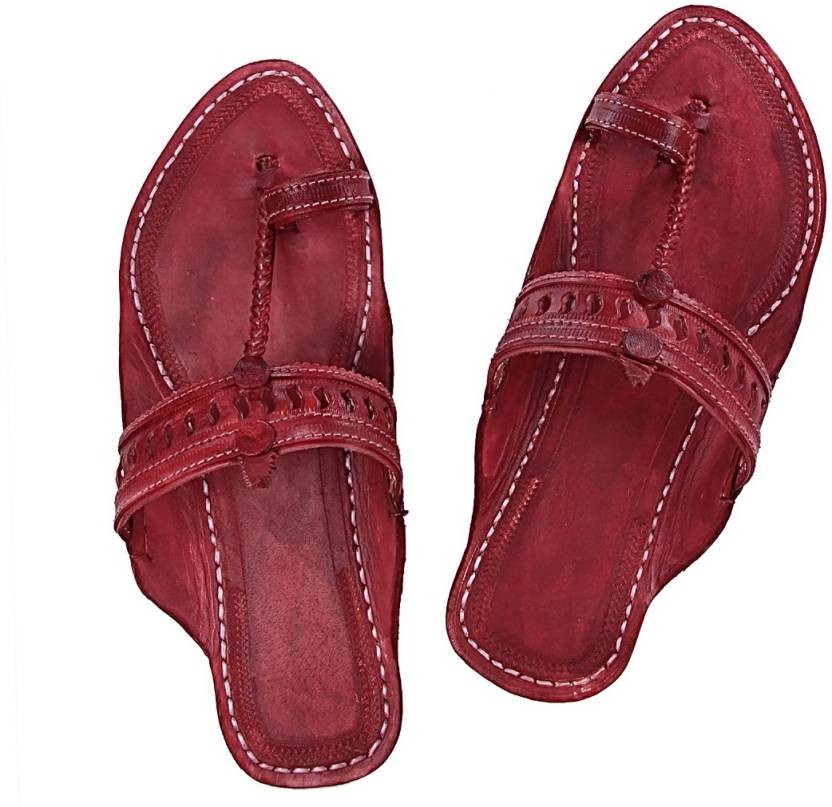5100469726745 Kolhapuri Chappal Women Maroon Flats - Buy Kolhapuri Chappal Women Maroon  Flats Online at Best Price - Shop Online for Footwears in India