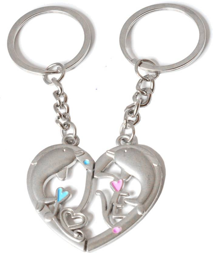 Faynci Valentine Day Gift Dolphin Love Theme Magnetic Heart Keychain