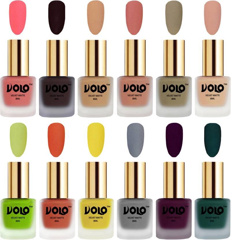 Volo Velvet Dull Matte Bold Colors Nail Polish Combo in Wholesale Rate Dark  Peach, Dark Wine, Skin Nude, Light Peach, Sand Nude, Nude, Parrot Green, ...
