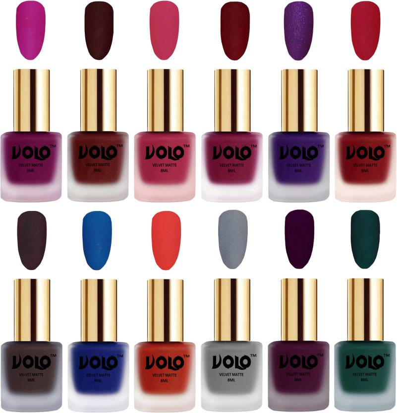 Volo Velvet Dull Matte Bold Colors Nail Polish Combo In Whole Rate Magenta Maroon Pion Pink
