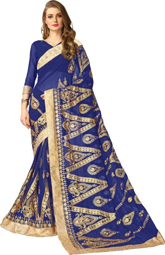 b46890c10e Buy Rudra Fashion Embroidered Fashion Georgette Blue Sarees Online ...