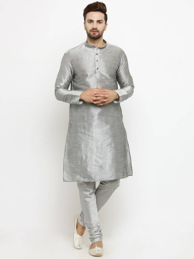 96ca2f4277 Larwa Men's Kurta and Churidar Set - Buy Silver, Silver Larwa Men's ...