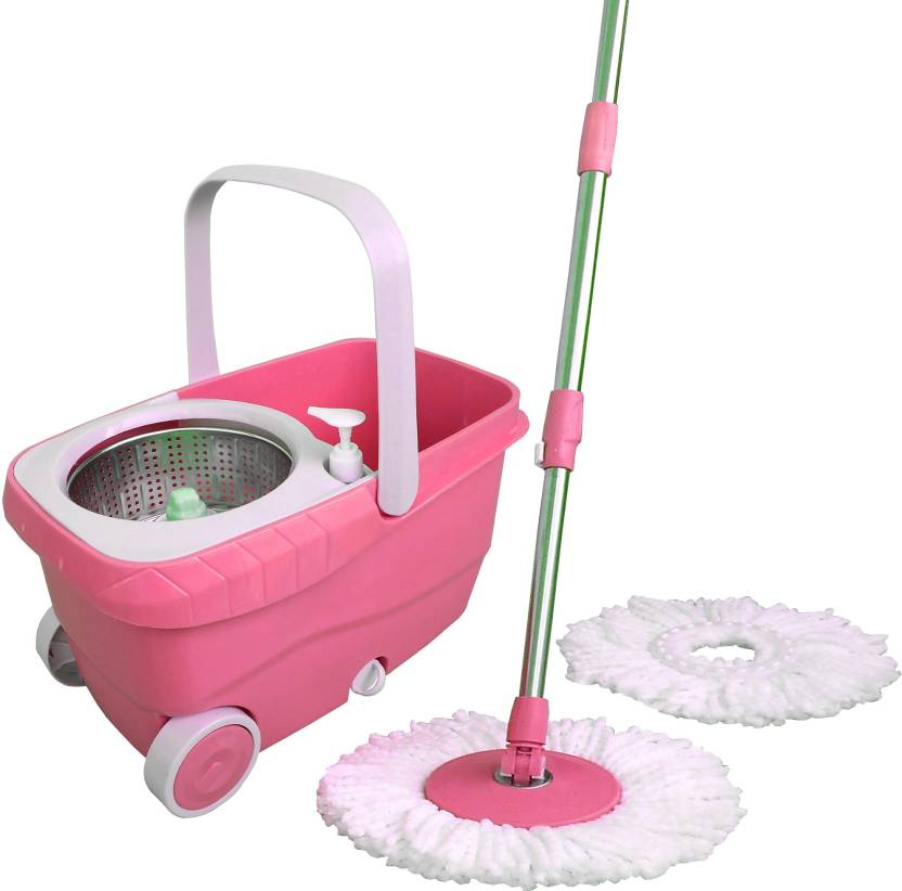 Wcse Pink Color Wheel Supported Bucket With Trolley And High Quality Mop Set