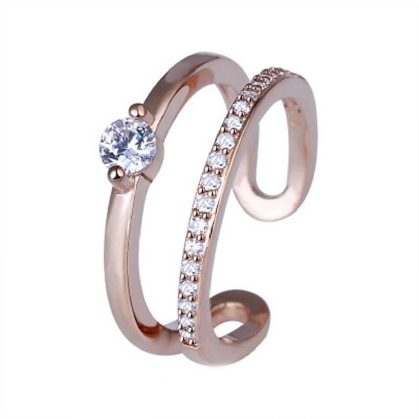 cb8664e10 MYKI Cute princess design round shaped cubic zirconia Ring (Rosegold) for  women & girls Stainless Steel Swarovski Zirconia 24K Rose Gold Plated Ring  Price ...