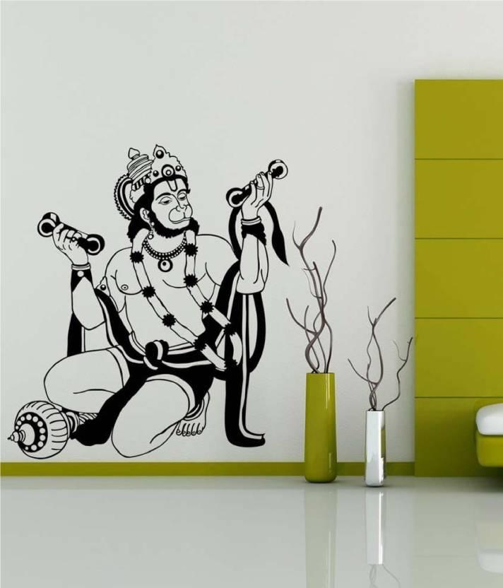 c1f898a0562 marvellous Large Religious God Hanuman wall sticker  Shri Hanuman wall decal  (black) Sticker (Pack of 1)