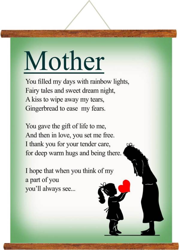 Giftsmate Mothers Day Greeting Cards Poem For Mother Scroll Card Mom Wall Hanging Decor Birthday Gifts