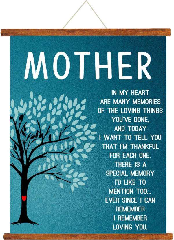 Giftsmate Mothers Day Greeting Cards Mom In My Heart Poem Scroll Card For Wall Hanging Decor Birthday Gifts