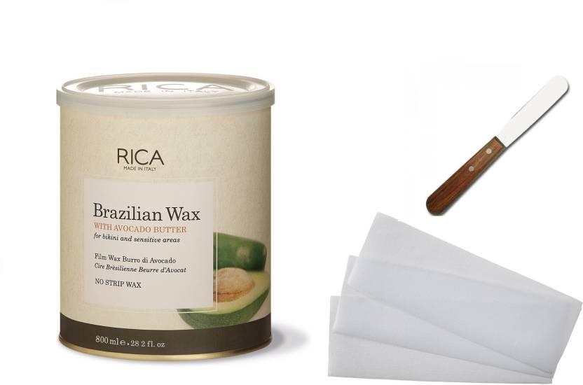 8f24aac00b2 Rica Brazilian With Avocado Butter Liposoluble wax For sensitive Skin 800  ml + Waxing Strips + Spatula (Set of 3)