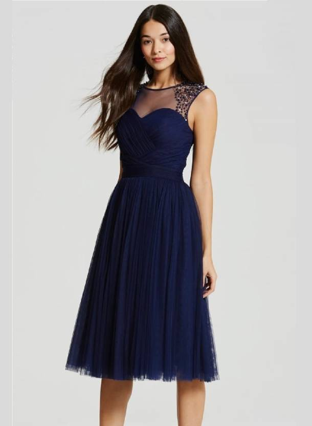 6e81426353 Crease & Clips Women's Empire Waist Dark Blue Dress - Buy NAVY Crease &  Clips Women's Empire Waist Dark Blue Dress Online at Best Prices in India  ...