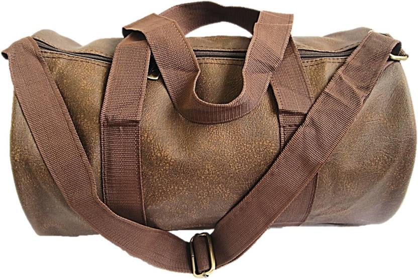0d96182592 Muccasacra Small weekender Duffle Gym Bag with 3 compartments (Tanned Dark  ) Gym Bag (Brown)