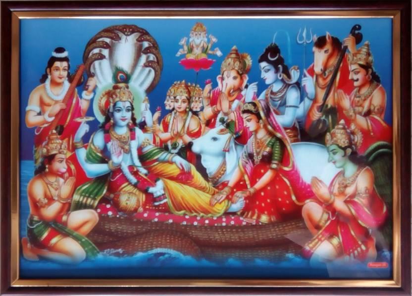 Art Collection Lord Vishnu Laxmi Ji Golden Print Ink 106 Inch X