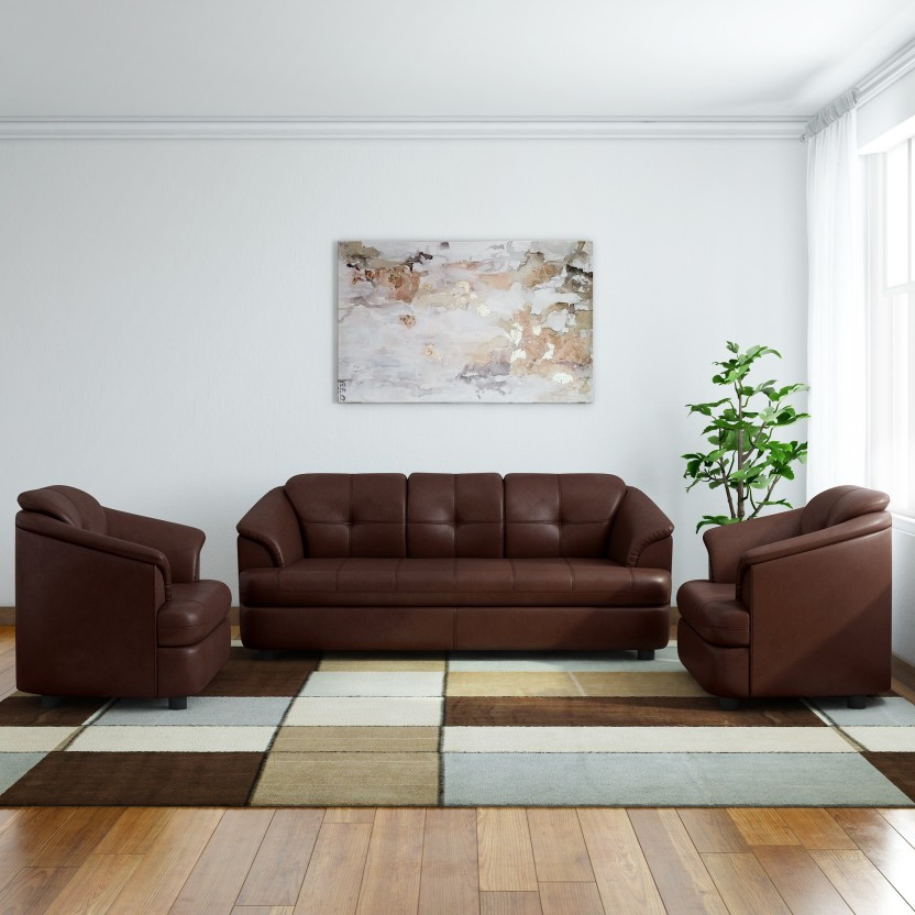 GIOTEAK Leatherette 3 + 1 + 1 Brown Sofa Set