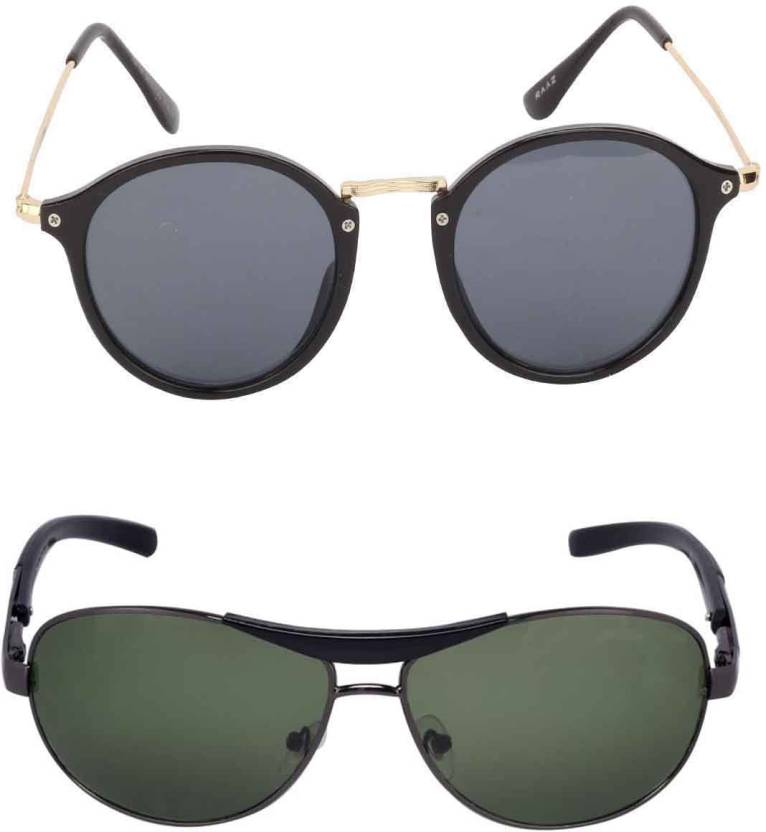 c544b3ad0aac Buy Barbarik Wrap-around, Cat-eye Sunglasses Green, Brown For Men ...