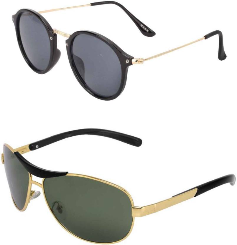 c409f5930f01 Buy Barbarik Wrap-around, Cat-eye Sunglasses Green, Black For Men ...