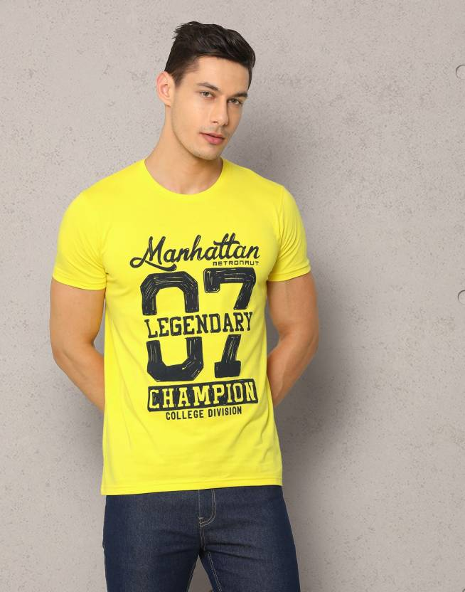21b0948f9e Metronaut Printed Men Round Neck Yellow