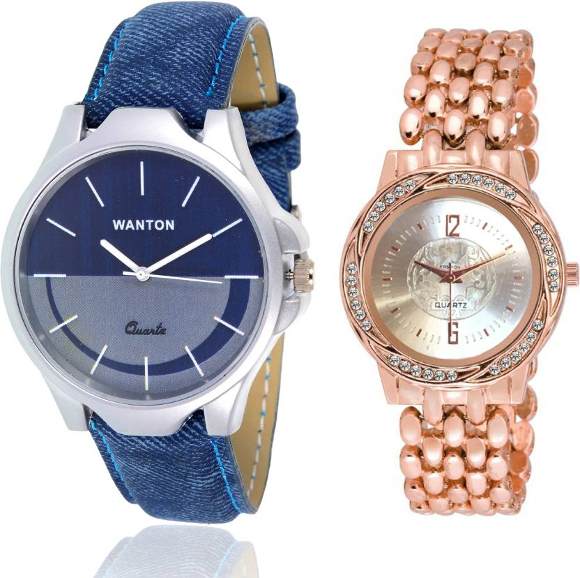 Wanton Sp 5 K 11 Stylish And Fancy Dial Rose Gold Watch With Blue