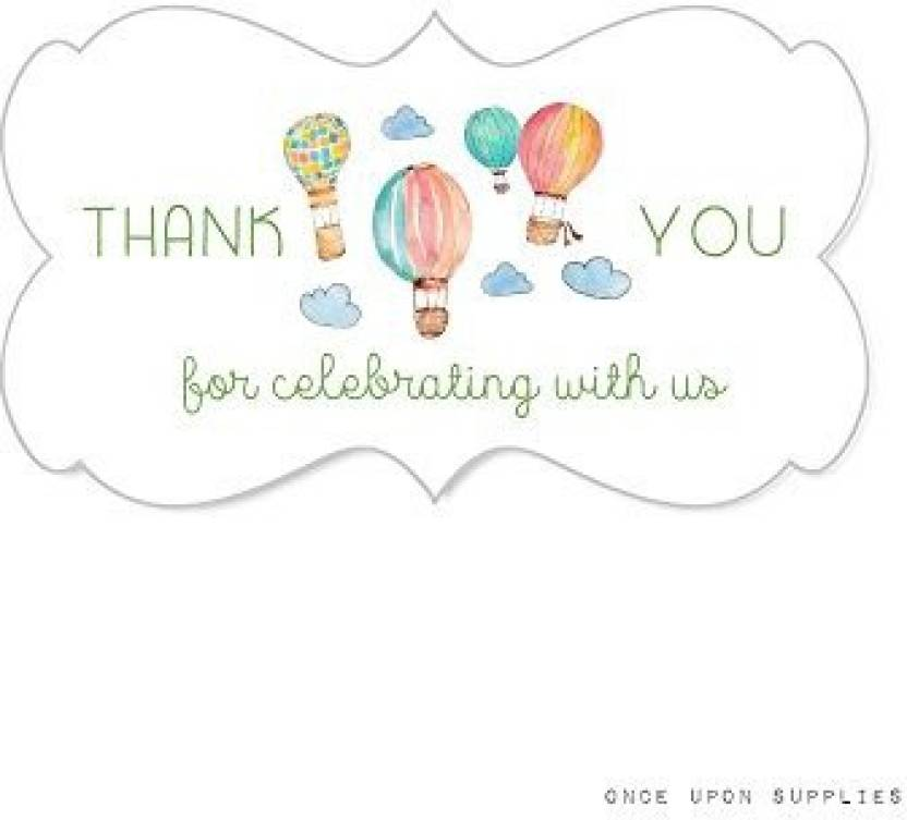 Generic Hot Air Balloon Fancy Frame Stickers Thank You For