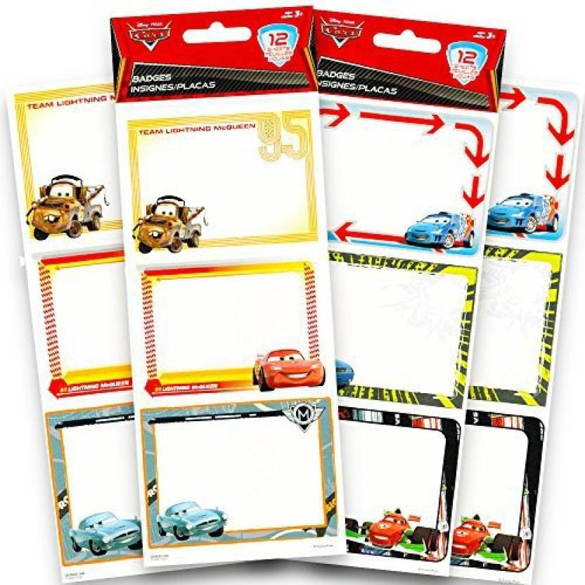 generic disney cars name tag stickers value set for kids pack of