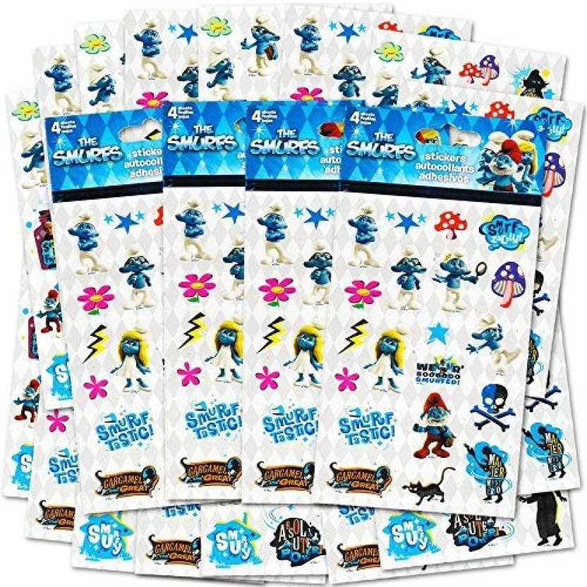 Generic Smurfs Stickers Party Favors Pack 296 Stickers Total 16