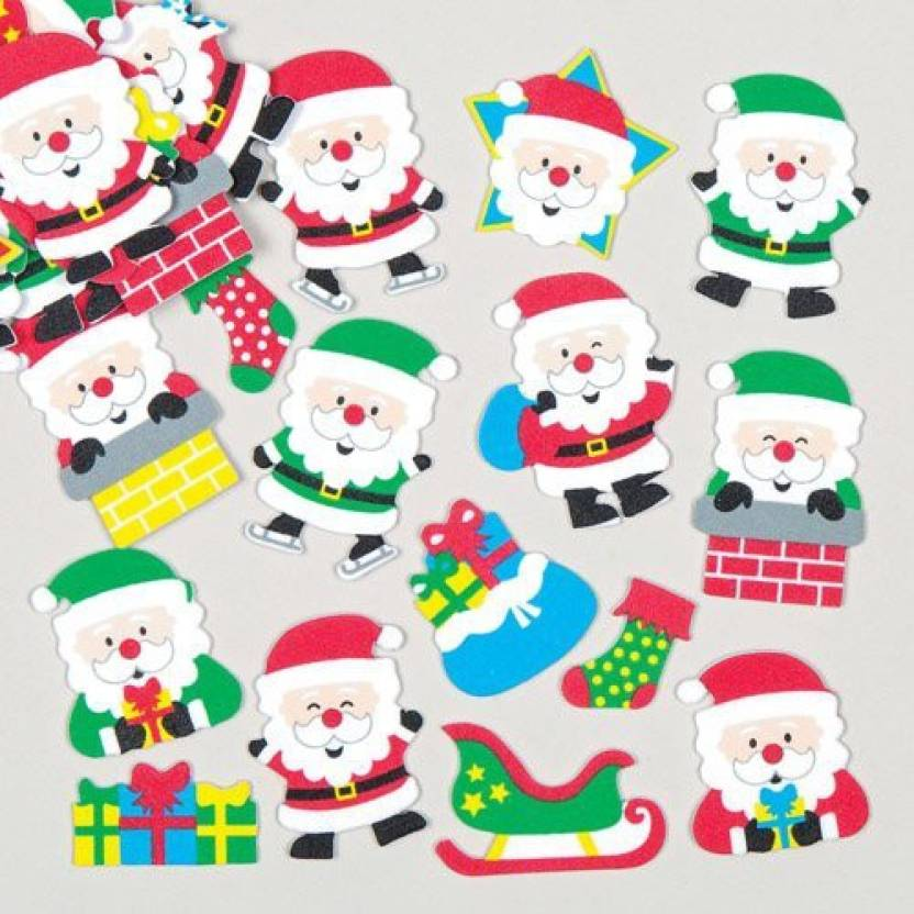ca472f253875 Baker Ross Santa Claus Foam Stickers Set For Children To Decorate ...