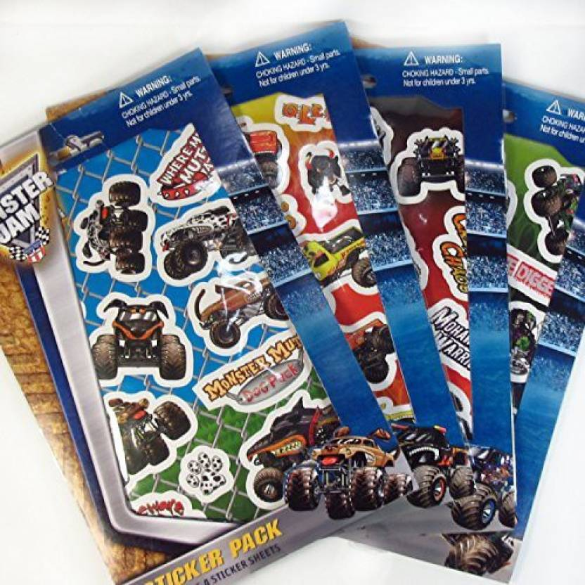 Monster Jam Sticker Pack Stickers Includes 4 Stickers