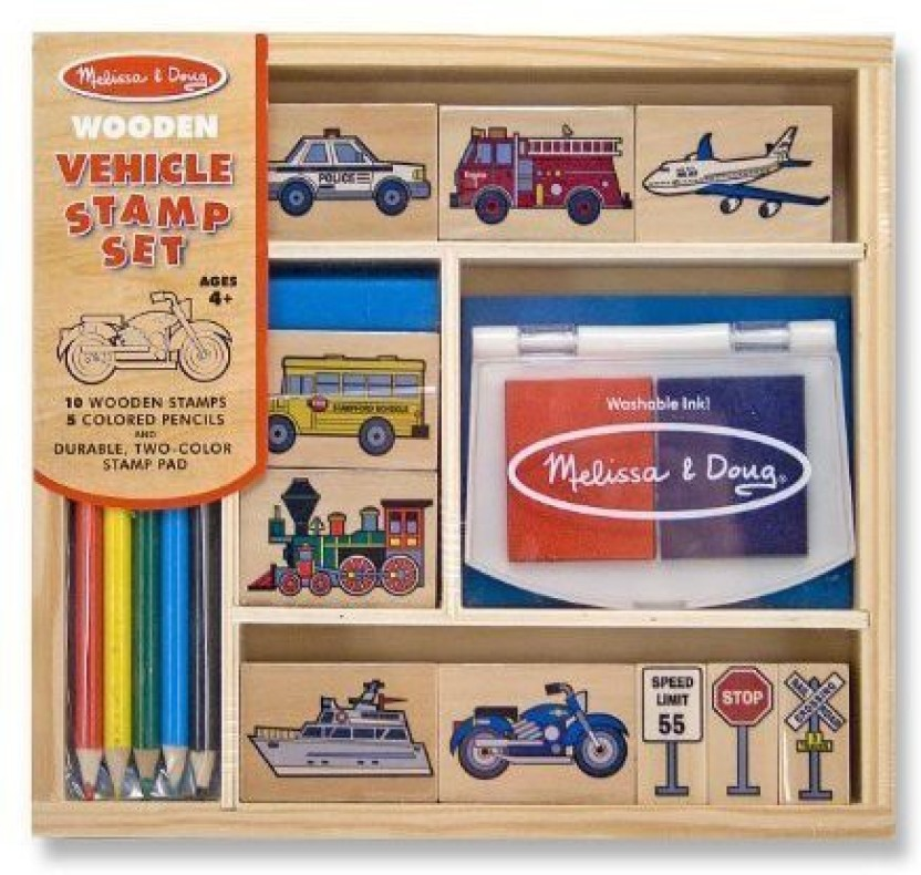 Vehicles Melissa /& Doug Wooden Stamp Set
